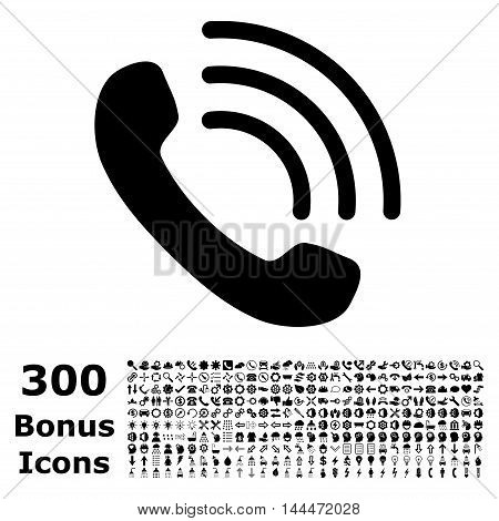 Phone Call icon with 300 bonus icons. Vector illustration style is flat iconic symbols, black color, white background.