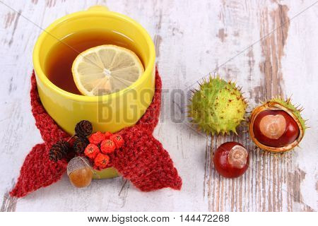 Cup Of Hot Tea With Lemon Wrapped Woolen Scarf, Warming Beverage For Flu, Autumn Decoration