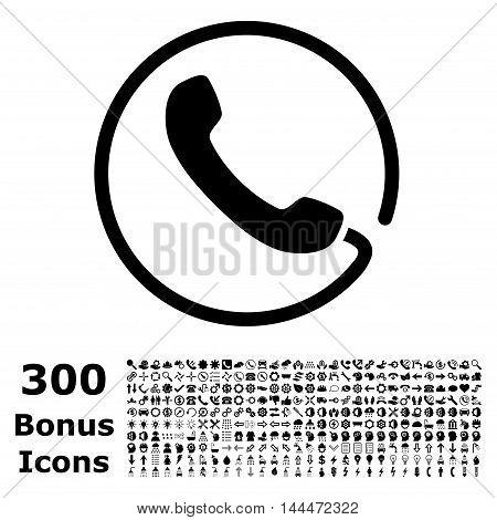 Phone icon with 300 bonus icons. Vector illustration style is flat iconic symbols, black color, white background.