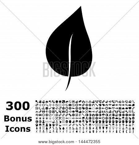 Plant Leaf icon with 300 bonus icons. Vector illustration style is flat iconic symbols, black color, white background.
