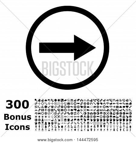 Right Rounded Arrow icon with 300 bonus icons. Vector illustration style is flat iconic symbols, black color, white background.