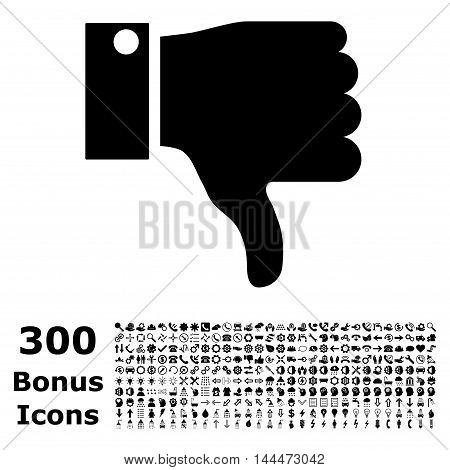 Thumb Down icon with 300 bonus icons. Vector illustration style is flat iconic symbols, black color, white background.