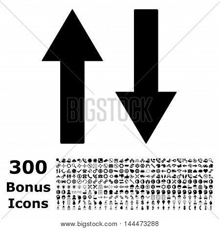 Vertical Flip Arrows icon with 300 bonus icons. Vector illustration style is flat iconic symbols, black color, white background.