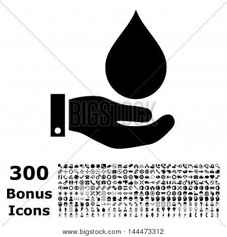 Water Service icon with 300 bonus icons. Vector illustration style is flat iconic symbols, black color, white background.