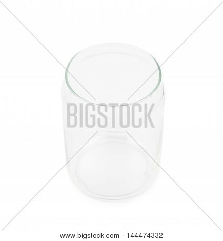 Empty glass kitchen jar isolated over the white background