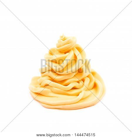 Frosting cream swirl isolated over the white background