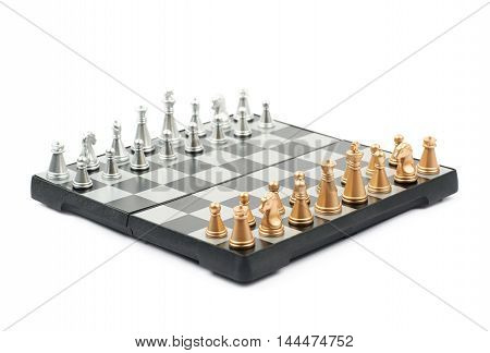 Chess board with figures set up, composition isolated over the white background