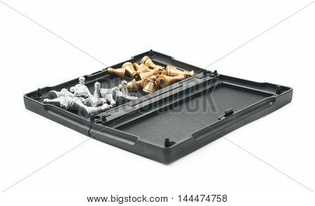Opened chess board box with the figures inside of it, composition isolated over the white background