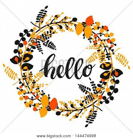 vector autumn pretty background with hand drawn plants in a circle and word hello