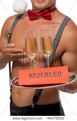 Waiter Holding A Tray Of Champagne Glasses Reserved