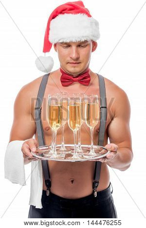 Six Of Glasses Of Champagne Out Of Focus On The Tray The Waiter With A Naked Torso