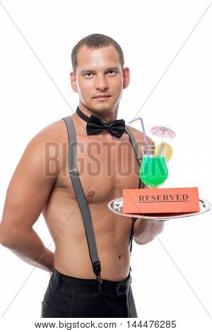 Waiter With A Naked Torso Holds In Reserve A Cocktail