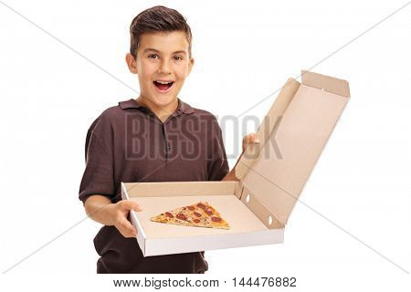 Excited boy holding a pizza box with a single slice isolated on white background