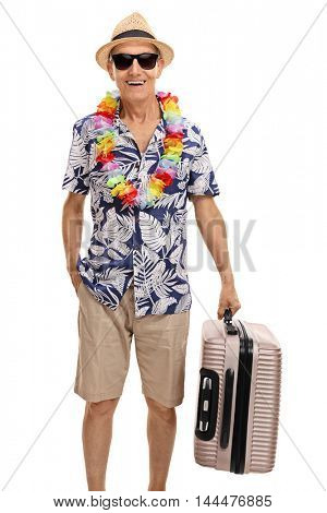 Senior tourist holding a suitcase isolated on white background