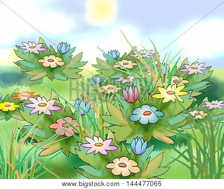 Digital Painting Illustration of a Flowers in a meadow in a summer day. Cartoon Style Character Fairy Tale Story Background