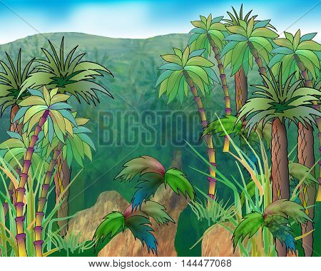 Digital Painting Illustration of a green crowns of palm trees on a background of mountains and blue sky. Cartoon Style Character Fairy Tale Story Background.