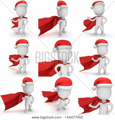 3d man brave superhero santa with thumbs up wear red cloak and santa claus hat. 3D render set isolated on white background.