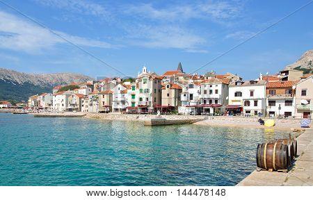 Village of Baska on Krk Island at adriatic Sea,Kvarner,Croatia