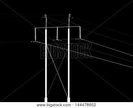 illustration with electric pylon isolated on black background