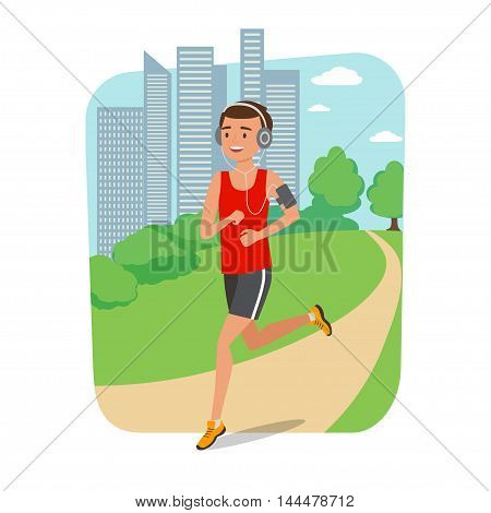 Full length of a young man jogging with city in background. Jogger listening to training music on smartphone. Vector illustration