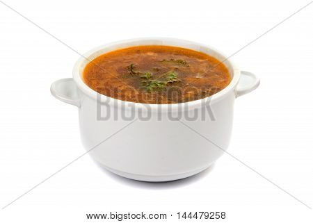 Chicken water, spicy, food, parsley soup  isolated on white