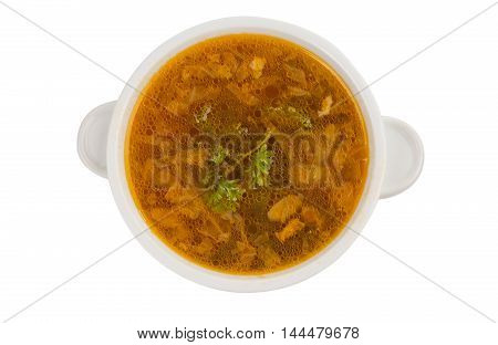 Chicken soup water, spicy, food, parsley isolated on white