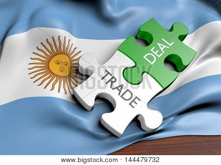Argentina trade deals and international commerce concept, 3D rendering