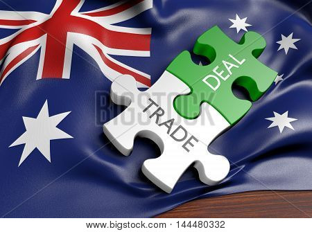 Australia trade deals and international commerce concept, 3D rendering