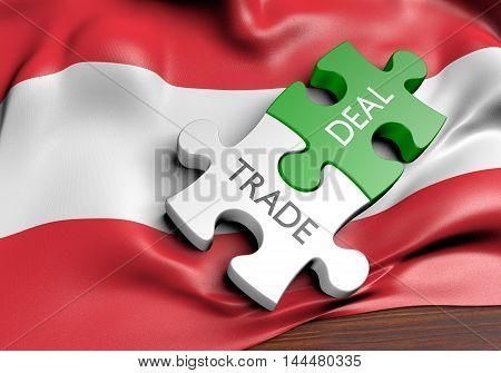 Austria trade deals and international commerce concept, 3D rendering