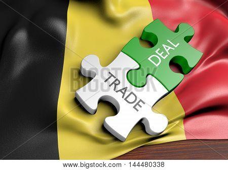 Belgium trade deals and international commerce concept, 3D rendering