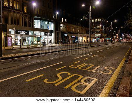 EDINBURGH, SCOTLAND - CIRCA NOVEMBER 2012: Princes Street at night.