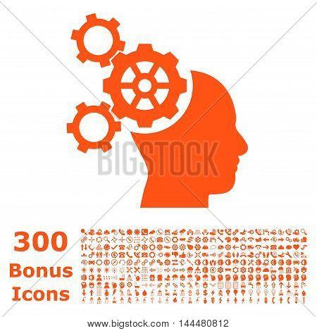 Brain Mechanics icon with 300 bonus icons. Vector illustration style is flat iconic symbols, orange color, white background.