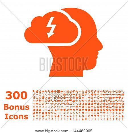Brainstorming icon with 300 bonus icons. Vector illustration style is flat iconic symbols, orange color, white background.