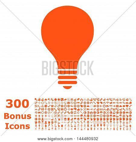 Bulb icon with 300 bonus icons. Vector illustration style is flat iconic symbols, orange color, white background.