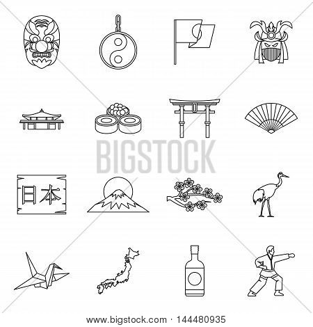 Japan icons set in outline style. Japan attractions set collection vector illustration
