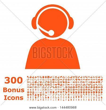 Call Center Operator icon with 300 bonus icons. Vector illustration style is flat iconic symbols, orange color, white background.