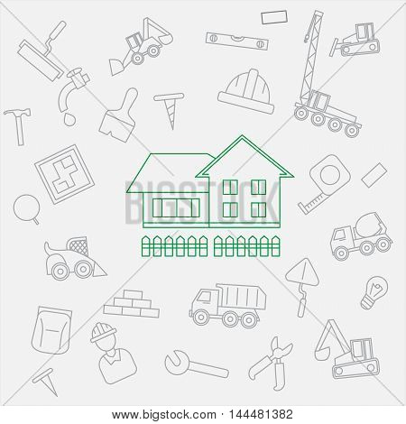 Construction house cottage vector template in modern outline style