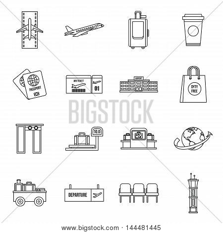 Airport icons set in outline style. Universal airport and air travel set collection vector illustration
