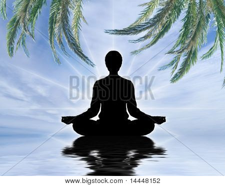 Human silhouette meditating over sky background