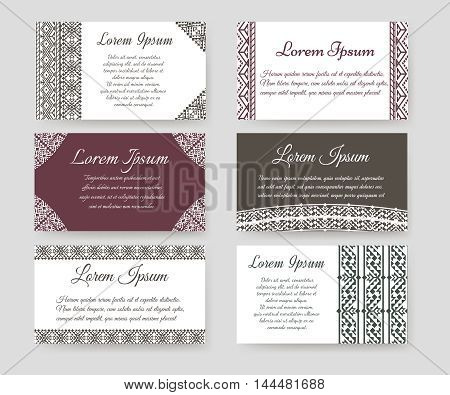 Personal cards with ethnic design vector set