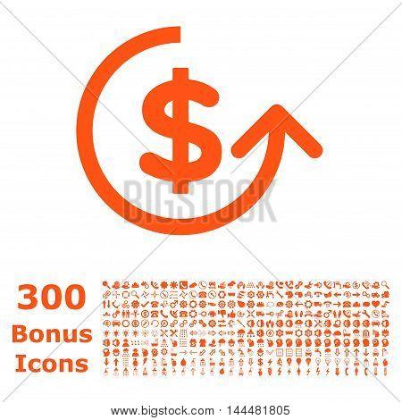 Chargeback icon with 300 bonus icons. Vector illustration style is flat iconic symbols, orange color, white background.
