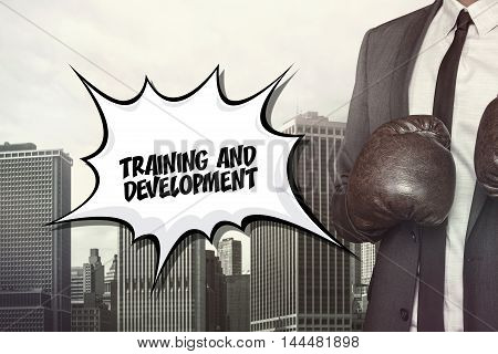 Training and devevelopment text on speech bubble with businessman wearing boxing gloves