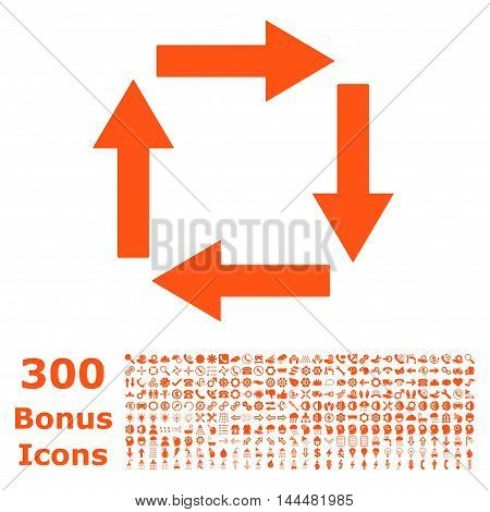 Circulation Arrows icon with 300 bonus icons. Vector illustration style is flat iconic symbols, orange color, white background.