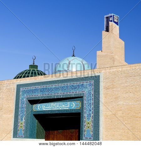 LISBON, PORTUGAL - October 15, 2015: Detail of the entrance to the Central Mosque of Lisbon on October 15, 2015 in Lisbon, Portugal