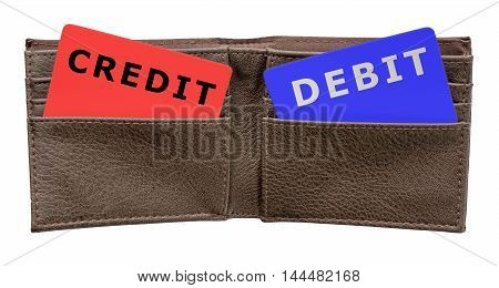 Credit and debit cards in a brown leather men's wallet on an isolated white background with a clipping path