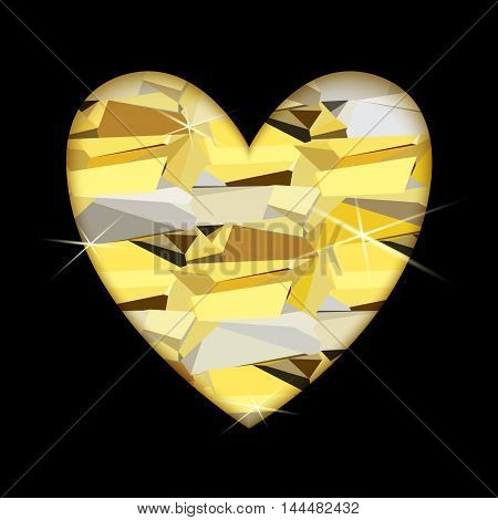 Gold heart with black background. Heart frame with gold geometric pattern. Golden valentine love card with triangles pattern and shiny sparkles. Vector illustration stock vector.