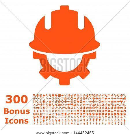Development Helmet icon with 300 bonus icons. Vector illustration style is flat iconic symbols, orange color, white background.
