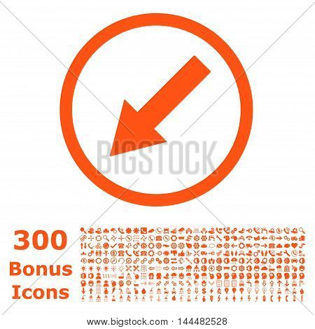 Down-Left Rounded Arrow icon with 300 bonus icons. Vector illustration style is flat iconic symbols, orange color, white background.