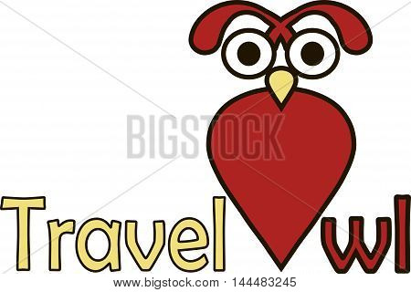 Red, black, yellow logo for travel industry Travel Owl on white, vector illustration
