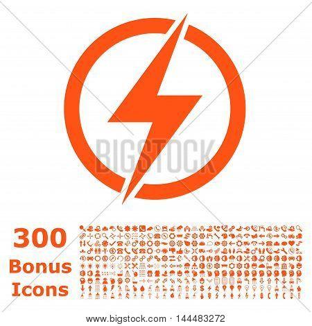 Electricity icon with 300 bonus icons. Vector illustration style is flat iconic symbols, orange color, white background.